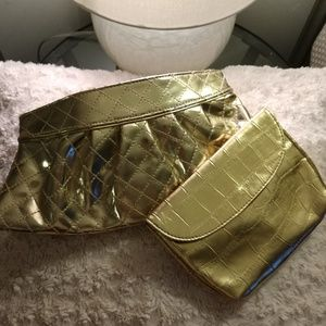 Steve Madden Metallic Gold Clutch and Cosmetic Bag